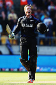 Record breaker Martin Guptill celebrates getting hitting  a double hundred in the world cup quarter final agains