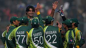 Mohammed Irfan celebrates taking a wicket in Pakistan's 29 run win over South Africa.